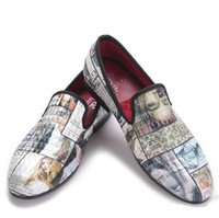 Wholesale Causal Slip Loafers Men - 2017 Magazine-style Graffiti Cotton Fabric Men loafers with red comfortable cotton insole men causal shoes men's flats