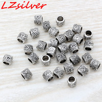 Wholesale drums mic - MIC 300Pcs Antique Silver zinc alloy Beaded Drum Spacer Beads 7x6mm DIY Jewelry D6