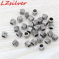 ingrosso batteria mic-MIC 300Pcs argento antico in lega di zinco perline distanziatore tamburo perline 7x6mm gioielli fai da te D6
