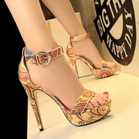 Wholesale Ethnic Sandals - 2017 Ethnic bohemian floral printed ankle strap high heel women gladiator sandals 4 colors size 34 to 39