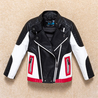 Wholesale Leather Summer Jacket - fashion boy causal jacket coat novelty leather PU jacket coat for 1-12yrs boys students kids children outerwear leather clothing