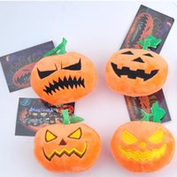 Wholesale Halloween Pumpkin Plush Toys cm Soft Stuffed Doll Keychain Pendant Cell Phone Bag Key Rings Pumpkin Keyring