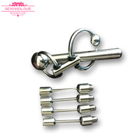 Wholesale Bdsm Locked Cock - Best discount male chastity Devices With Catheter urethral sound dilator 23cm man Penis Lock Cock Ring BDSM cheap sex toys for sale