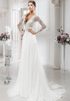 Wholesale Cheap Sexy Long Sleeve Tops - Sexy V-neck Chiffon Skirts Wedding Dresses Cheap With Full Lace On Top Court Train Long Sleeves Simple Wedding Gowns