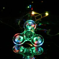 Wholesale Vehicle Specials - New Special Design Hand Spinner Crystal Gyro Decompression Toy Triangle Fingertip with LED Light Anti-Stress Relief Focus Toy