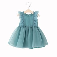 Wholesale Chinese Formal Short Dresses - 2017 Korean Summer princess skirt flower girls dresses waist knot organza cotton short sleeve girls boutique clothing party dresses
