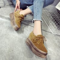 Wholesale European luxury brand woman platform shoes lace up suede leather ladies shoes famous creepers autumn new flats shoes Brogue number