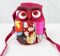 Wholesale Owl Patchwork Bag - Hot Selling Chinese Ethnic Character Cloth Handmade Preschool Baby Owl Colorful Stitch Preschool baby Owl Backpack Fashion Bag