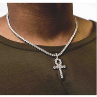 Wholesale Gold Necklace Key Pendant - Mens Bling Iced Out Egyptian Ankh Key Pendant Necklace Gold Plated Hip Hop Black Crystal Cuban Link Chain Men Jewelry Necklaces & Pendants