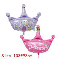 Wholesale Happy Birthday Crown - 50pcs lot 103*93cm helium baloon princess crown foil balloons for happy birthday party decoration globos