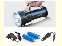 Long Range Searchlight Lanterna Led Flashlight Cree recarregável poderoso Flash Search Light Torch +18650 Battery + Charger
