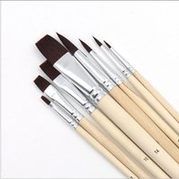 Wholesale art supplies brushes - Pebeo Nylon Hair Paint Brush Set Head Wooden Handle Artists Gouache Watercolor Acrylic Brushes Art Supplies 8pcs set