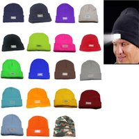 Wholesale Christmas Lights Hat - 5 LED lights Beanies Hat Winter Hands Warm Angling Hunting Camping Running Caps 19 Colors Dhl Free