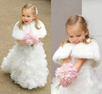 Wholesale Cheap Winter Jackets For Girls - Cute White Winter Little Girls Jacket Fashion Faux Fur Children Cape Warm Wedding Shrug Wrap For Kids Warm Flower Girls Cape Cheap Price