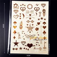 Wholesale Small Nail Bows - Wholesale- 1PC Glitter Gold Finger Tattoo Small Cute Star Heart GCT148G Bow Melody Lightning Tatoo Dragonfly Temporary Tattoo Nail Sticker