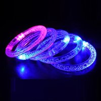 Wholesale Colour Changing Plastics - Wholesale- 120pcs lot led Bracelets Bubble Colour Changing Bangle Acrylic Wristband toys for party