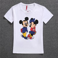 Wholesale Micky Shirt - Wholesale- t shirt women Harajuku 2017 2 Micky Mouses Printing Cotton t-shirt Femme t shirtShort Sleeves O-neck Summer Casual Women Tops