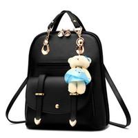 sac à dos korea achat en gros de-Nouvelle mode à la mode coréenne sac à dos avec un ours mignon jouet en cuir dames filles université étudiant de haute qualité sacs à dos