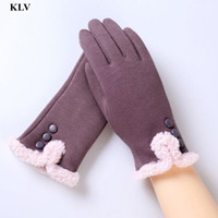 Vente en gros - Newly Stylish Mode Femmes Solid Button Cotton Move Screen Winter Outdoor Sport Haute qualité Warm Windproof Gloves Femme NO223