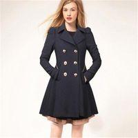gabardinas negras para las mujeres al por mayor-Abrigos de mujer Abrigo de invierno Abrigo de moda Sólido Abrigo Cuello recogido delgado Prendas de abrigo Botón Negro Azul marino Ropa beige