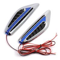 Wholesale Car Steering Signal - 2pcs DC12V Steering Light Fender Side Lamp Blade Shape Auto Car LED Side Lights Marker Turn Signal Lights