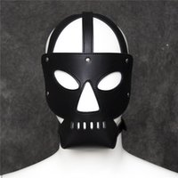 Wholesale Slave Mouth - Adult Game Sex Toys Zipper Mouth Latex Pu Leather Mask Fetish Slave Sex Mask Bondage Hood With Lock Sex Products For Couples