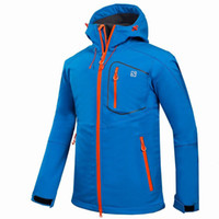 Wholesale hiking jackets for men - Wholesale-Outdoor Shell Jacket Winter Brand Hiking Softshell Jacket Men Windproof Waterproof Thermal For Hiking Camping