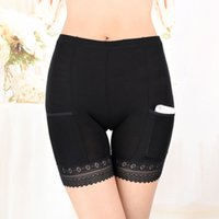 Wholesale Lace Boxer Shorts Free Shipping - 2 PCS Pocket Underwear for Women Modal Material Under Skirt Safety Boxer Underwear with Sexy Lace S L XL Free Shipping