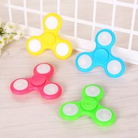 Wholesale Wholesale Tip Up Lights - LED Light Hand Spinners High Quality Triangle Fidget Spinner Colorful Decompression Fingers Tip Tops LED Light Up Fidget Spinners