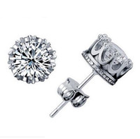 Wholesale Austrian Diamond - 1CT Austrian Crystal 925 sterling Silver plating 30% White GOLD Crown Wedding Stud Earring Swarovski Elements Engagement Jewelry 20 Pairs