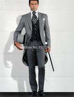 мужские костюмы свадебный серый фрак оптовых-Wholesale- Grey Men Blazer Tailcoat Groomsman Long Men's Wedding Suit mens suits homens blazer wedding groom