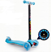 Wholesale toy bike wheels - Scooter Flash Wheel Children 3-12Y Outdoor Sports Toys Tricycle Wheels Kids Bike Push Glider Scooters Adjustable Height Birthday gift