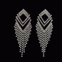 kristal küpeler avustralya toptan satış-Kendi fabrika yapımı Moda Avustralya kristal küpe akşam kadınlar Zarif tasarımcı gümüş küpe düğün parti takı # E257