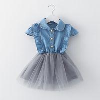 Wholesale Kids Wear Denim Dresses - 2017 summer children clothing infant baby girl denim fly sleeve princess party dress for 0-3T kids wear