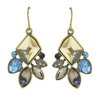 Wholesale Colorful Flower Designs - New Coming Antique Design Colorful Rhinestone Drop Earrings Jewelry Fashion