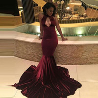 Wholesale Velvet Evening Gown Long Backless - African Burgundy Velvet Mermaid Prom dresses 2017 Sexy Keyhole Neck Hollow Out Evening Dresses With Long Sweep Train Vintage Party Gowns