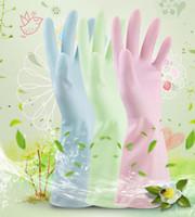 guantes impermeables para lavar platos al por mayor-Guantes de limpieza de lavado de cocina Guantes de goma duraderos impermeables Ropa de hogar Lavado de platos Guantes de látex 3 colores KKA1581