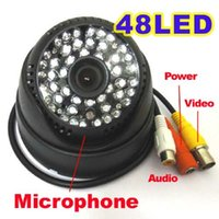 Wholesale Indoor Dome Camera Audio - HD CCTV 700TVL CMOS Sensor Module 48 IR Led Night Vision Security Dome Camera With Audio For Home Surveillance Analog Cam