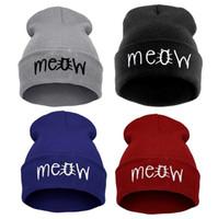 kadınlar için şapkalar toptan satış-Kadınlar ve Erkekler için Kasketleri kedi Pamuk miyav kasketleri şapkalar Kış Bahar Yün Sıcak Örme Caps Rahat kış şapka hip hop skullies
