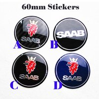 Wholesale 3d Reflective Stickers - Modified Hot selling car Wheel Center Emblem Stickers 60mm 2.36inch for SAAB 9-3 9-5 93 95 BJ SCS logo embelm wheel center stickers