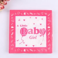 Vente en gros- 100PCS Little Girl and Boy Printing Serviette de papier Baby Shower Party Decoration Plaque Serviette Papier Baby Birthday Party Supplies