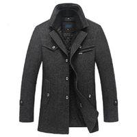 Wholesale Plus Size Long Pea Coat - Wholesale- Winter Jacket Men Wool Slim Fit Jackets Fashion Outerwear Warm Coat Men's Casual Overcoat Pea Coat Plus Size XXXL 4XL Jackets