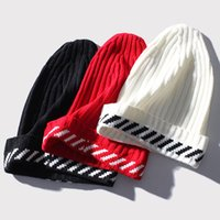 Wholesale Cuffed Spring Beanie Hat - Off-White Stripe Beanie Hat Women Men Winter Warm Knit Cap Hip Hop Fashion Cuffed Beanies Outdoor Skiing Skate Hats LHG0421