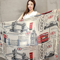 Wholesale Scarves London - Wholesale-Vintage Style 2016 fall fashion women scarf Euro Fashion British style London Tower Bridge   letter & bus flag printed scarves