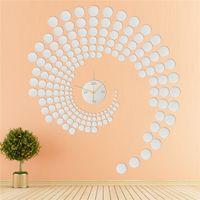 Wholesale Wall Clock Dots - Wholesale- Acrylic Peacock Dot Sticker DIY Mirror Wall Clock Wall Sticker Home Decoration Light Weight