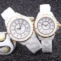 geschenke für wome großhandel-Mode Charming Dress Wome Herrenuhr Diamant Zifferblatt Keramik Band Saphirglas Luxus Uhren AAA Quarz Armbanduhr Exquisite Uhren Geschenk