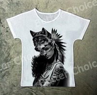 Track Ship + Fresh Fashion Vintage New T-shirt Top Tee Grey Rose Tattoo India Girl Wild Wolf 1383