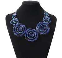 Wholesale Resin Chunky Pendants - New Fashion Jewelry Big Resin Crystal Blue Flower Necklaces & Pendants Statement Bib Chunky Choker Necklaces Free ship