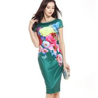 mutter braut gedruckt kleider großhandel-Womens neue elegante Blume mit Blumenmuster geraffte Flügelärmeln Rüsche lässige Brautjungfer Mutter der Braut Abend Party Kleid grün schwarz blau G43