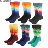 Wholesale Dhl Huf - Male Plaid Socks Tide Brand Socks Gradient Color Paragraph summer Style Cotton Stockings Men's Knee High Business Socks golf sox 100pair DHL